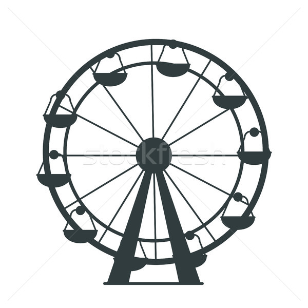 Black Silhouette of Ferris Wheel with Lots of Cabs Stock photo © robuart