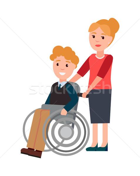 инвалидов человека женщину ухода люди хорошие Сток-фото © robuart
