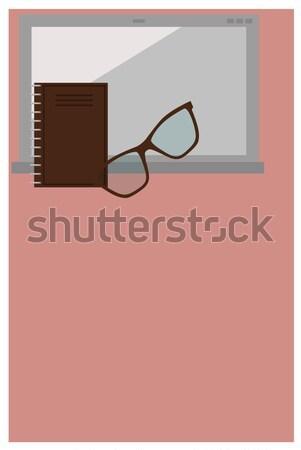Kantoorwerk poster tekst monster laptop notebook Stockfoto © robuart