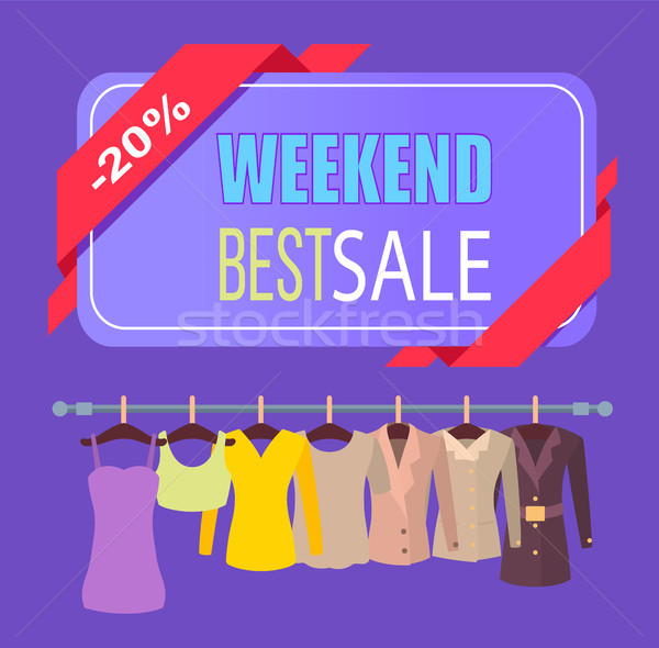 Weekend Best Sale for Clothes Promotional Poster Stock photo © robuart