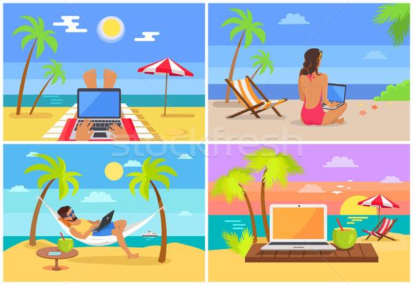 Szabadúszó emberek laptopok gyűjtemény szabadúszó feladatok Stock fotó © robuart