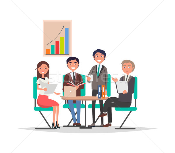 People Corporate Meeting Sit at Table Exchange Info Stock photo © robuart