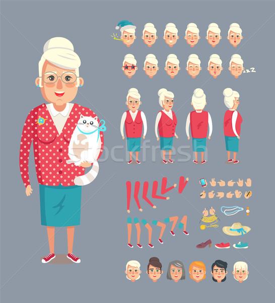 Nagyi gyűjtemény ikonok kifejezések kellékek kalap Stock fotó © robuart