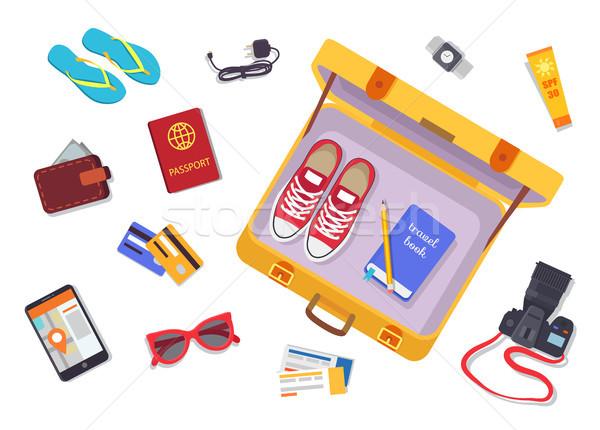 Trip Planning Luggage Set Vector Illustration Stock photo © robuart