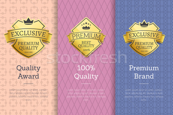 Stock photo: 100 Quality Award Premium Brand Gold Labels Set