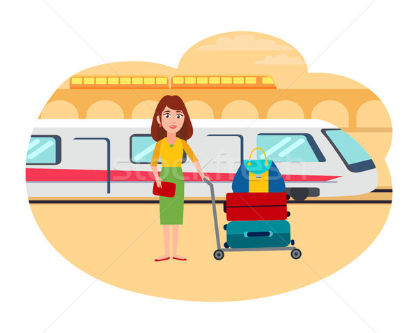 Woman with Lot of Baggage at Railway Station Stock photo © robuart