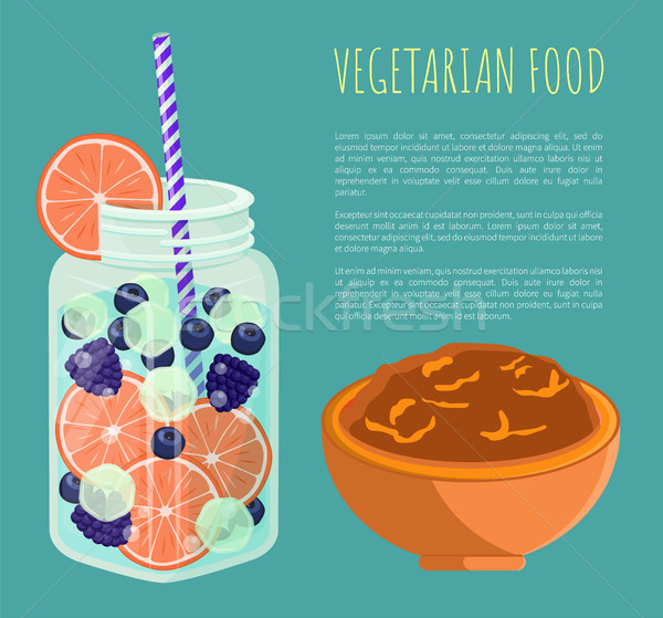 Vegetarian Food Poster Detox Diet Concept Vector Stock photo © robuart