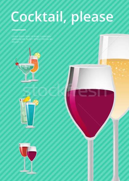 Cocktail, Pease Drink Types Advertising Poster Stock photo © robuart
