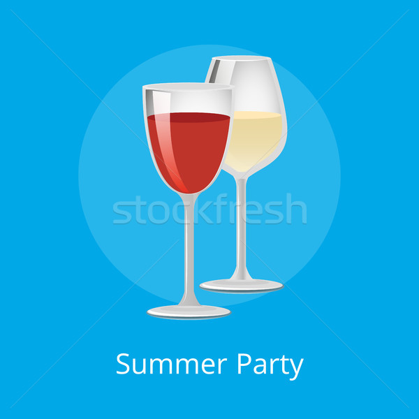 Summer Party Poster Glasses Elite Red White Wine Stock photo © robuart
