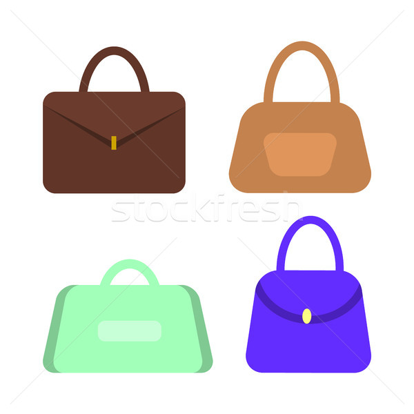 Leather Women Handbags with Handles Vector Set Stock photo © robuart