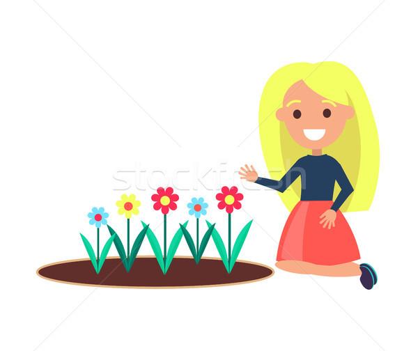Lány virágágy vektor női fehér ül Stock fotó © robuart