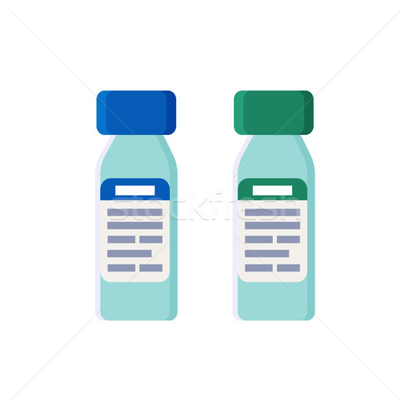 Plastic Bottles with Tight Covers and Labels Set Stock photo © robuart