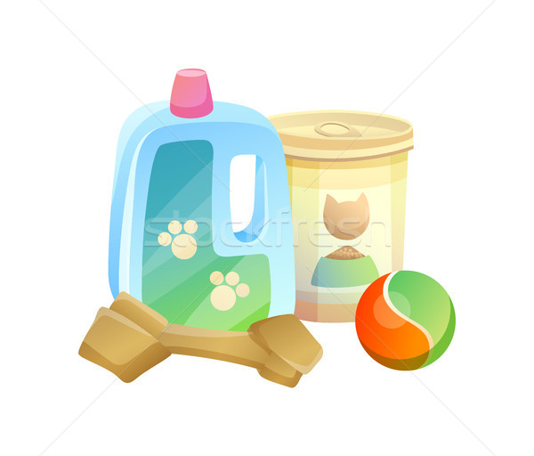 Bottle and Can Pet Shop Items Vector Illustration Stock photo © robuart