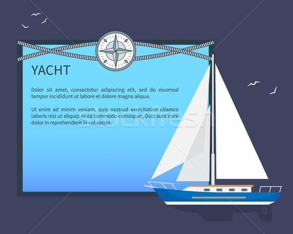 Sail Yacht, Colorful Card, Vector Illustration Stock photo © robuart