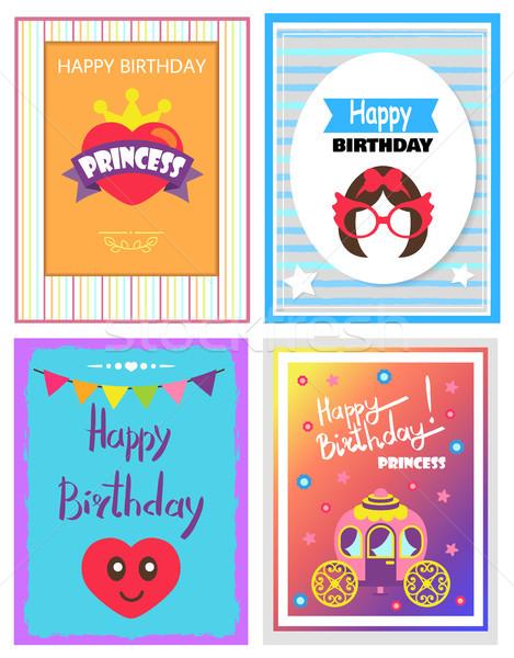 Happy Birthday Various Cards Vector Illustration Stock photo © robuart