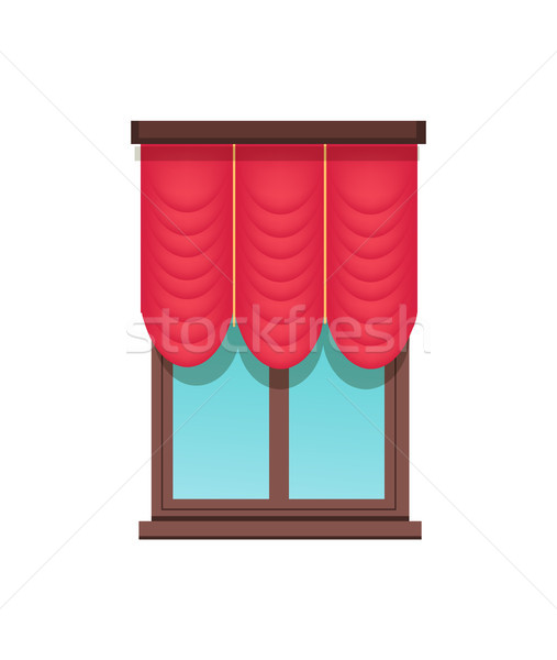 Window Template, Cute Red Blind, Colorful Banner Stock photo © robuart