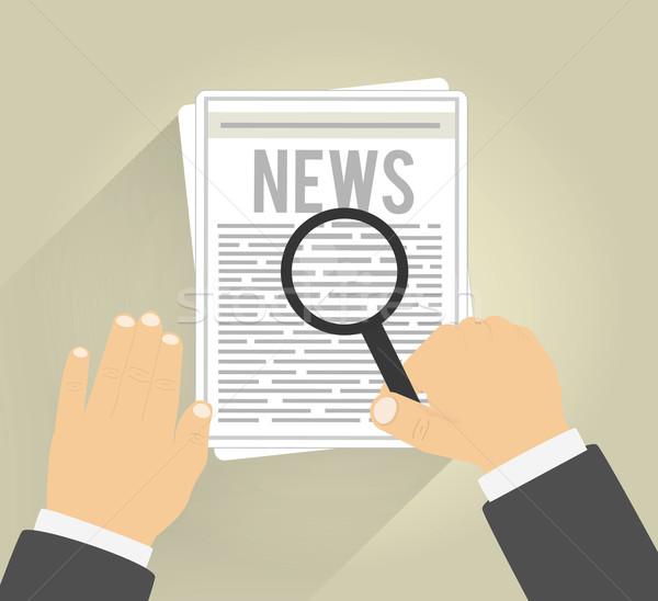 Nagyító minden nap újság férfi olvas iroda Stock fotó © robuart