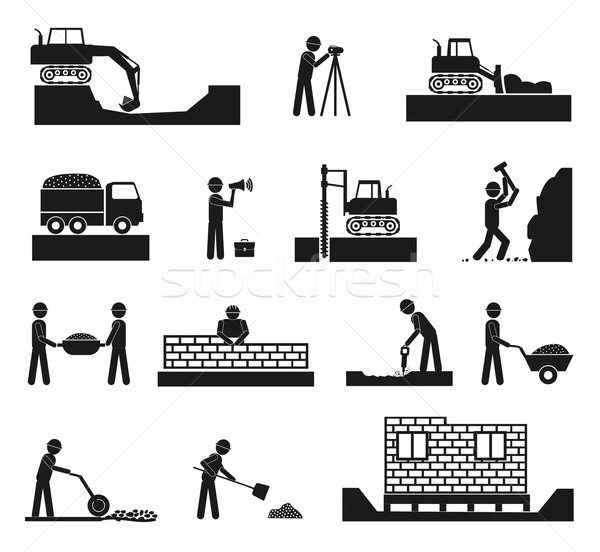 Set of builder construction industry icons Stock photo © robuart