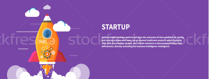 Początku w górę rakietowe działalności pomysł szablon Zdjęcia stock © robuart