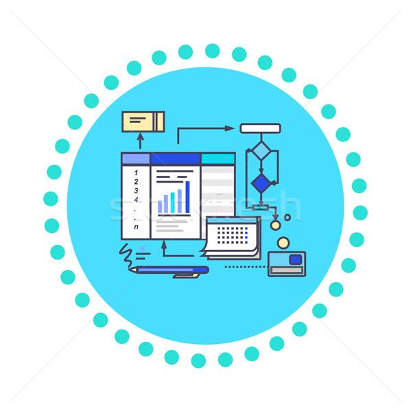 Icon Flat Style Design Working Process Stock photo © robuart