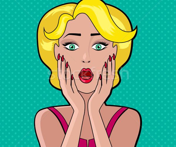 Desenho animado mulher atraente bolha wow cara menina Foto stock © robuart