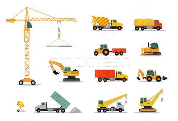 Construction machines design style isolé Photo stock © robuart