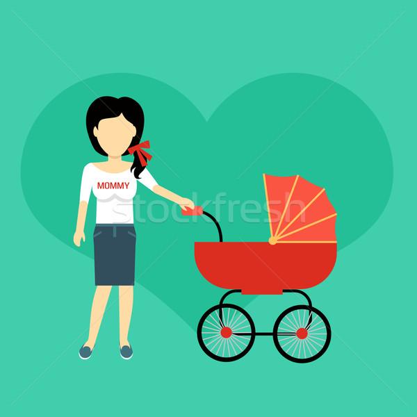 Anya babakocsi szalag terv szülő sétál Stock fotó © robuart