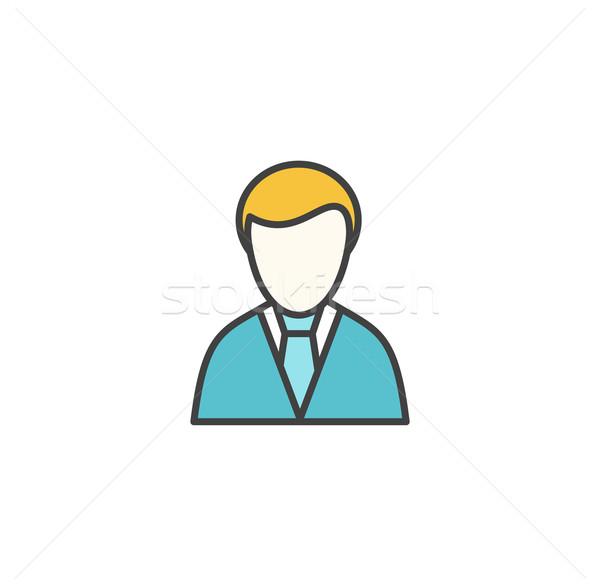 Stockfoto: Manager · vector · icon · lineair · ontwerp · geïsoleerd