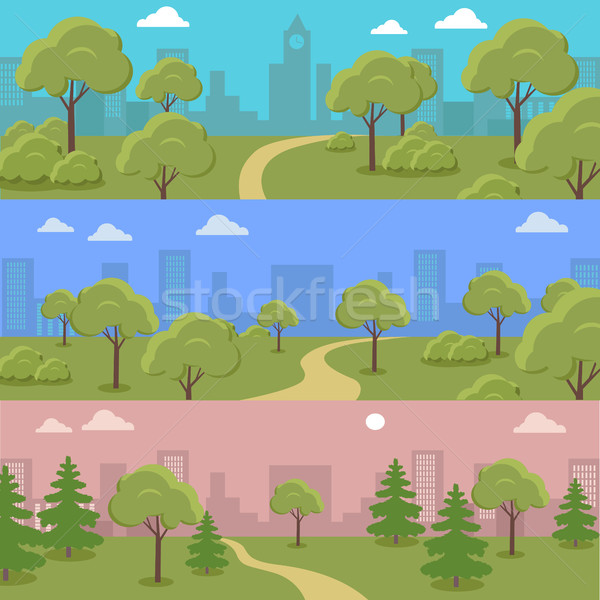Set of City Park Vector Concepts In Flat Design Stock photo © robuart