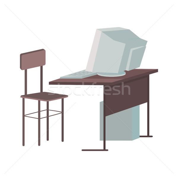 School Desk with Desktop Computer Stock photo © robuart