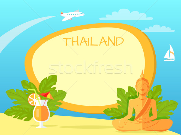 Thailand Isle with Buddha Statue and Cocktail Stock photo © robuart
