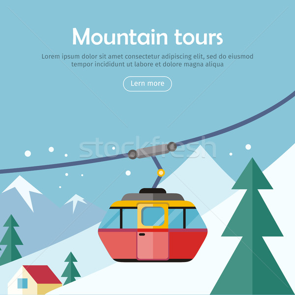 Mountain Tours Concept Banner. Funicular Railway, Stock photo © robuart