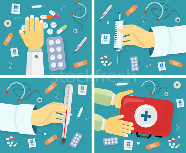 First Medical Aid Banners Set. Kit Content Stock photo © robuart