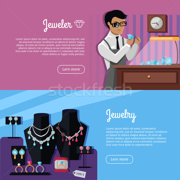 Set of Jewelry Concept Vector Web Banners  Stock photo © robuart