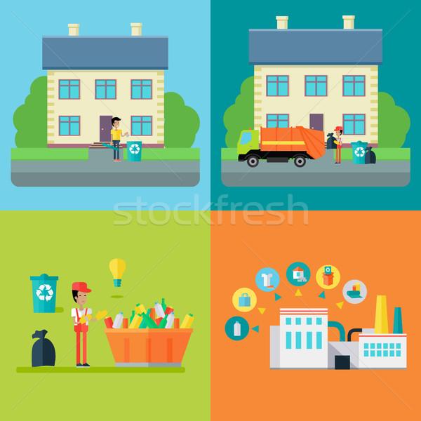 Zdjęcia stock: Zestaw · odpadów · recyklingu · wektory · projektu