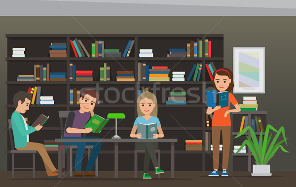 Cartoon People Read Books at Library. Library Room Stock photo © robuart