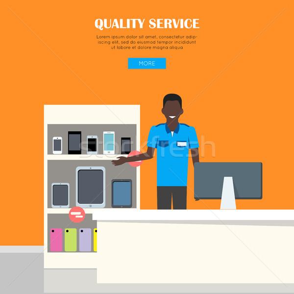 Calidad servicio sonriendo hombre azul camisa Foto stock © robuart
