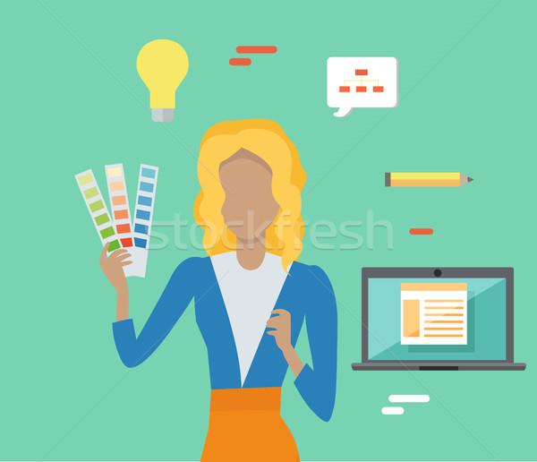 Kadın renkli panel düzenlenebilir elemanları dizayn Stok fotoğraf © robuart