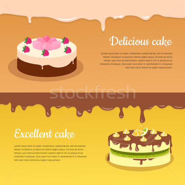 Delicious and Excellent Cake Flat Vector Banners Stock photo © robuart