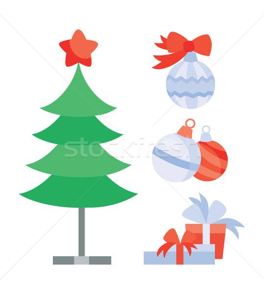 Zestaw obiektów tworzenie christmas wakacje drzewo Zdjęcia stock © robuart