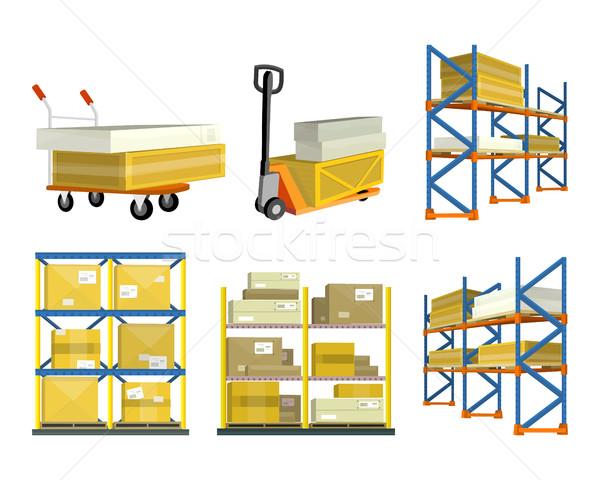Stock fotó: Szett · raktár · elemek · targonca · teherautó · polc