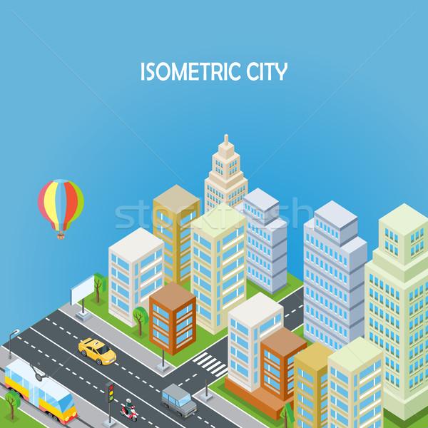 ストックフォト: アイソメトリック · 市 · 青 · オフィスビル · 道路 · 超高層ビル