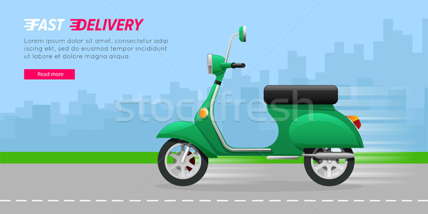 Delivery Motorcycle on City Road. Green Vehicle. Stock photo © robuart