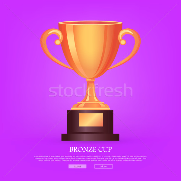 Trophy Bronze Cup Isolated on Violet Background Stock photo © robuart