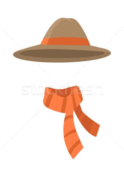 Longedged Brown Hat with Long Orange Stripe Vector Stock photo © robuart