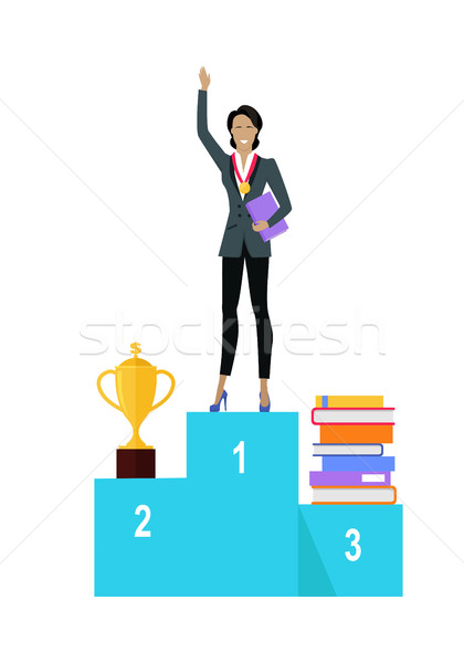Business Woman on Pedestal of Winners Stock photo © robuart