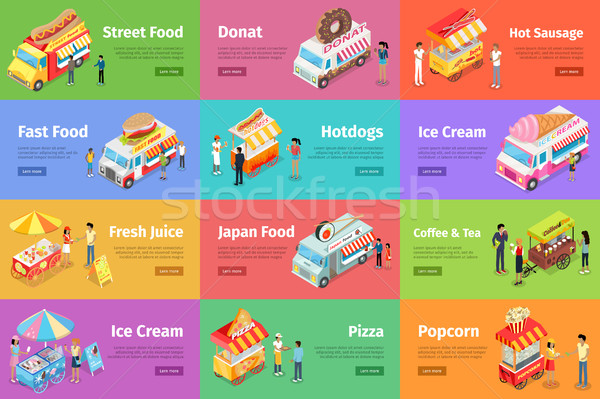 Street Food Stores Isometric Vector Banners Stock photo © robuart