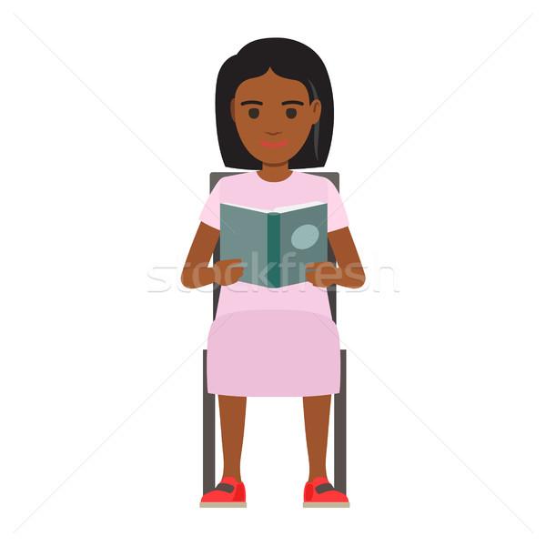 Vrouw Open boek vector jonge vrouw lezing leerboek Stockfoto © robuart