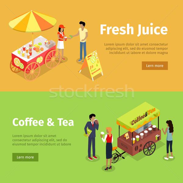 Frescos jugo café té paraguas establecer Foto stock © robuart