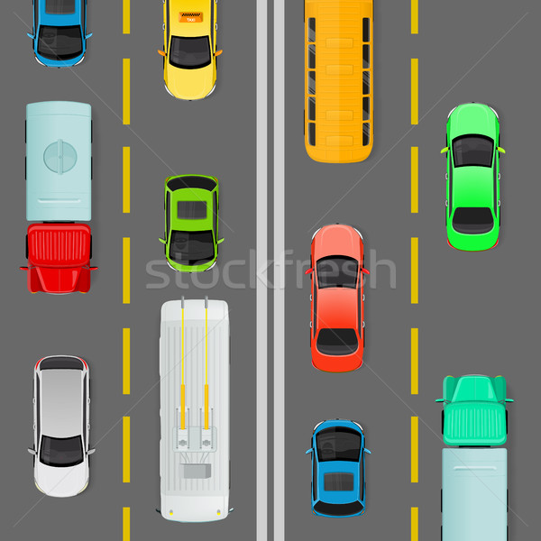 City Traffic on Top View Flat Vector Concept  Stock photo © robuart